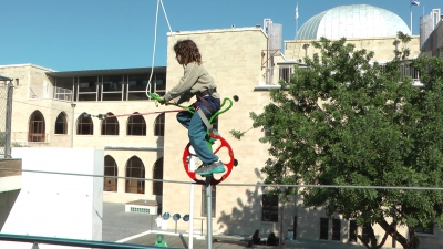 Unicycle on Cable